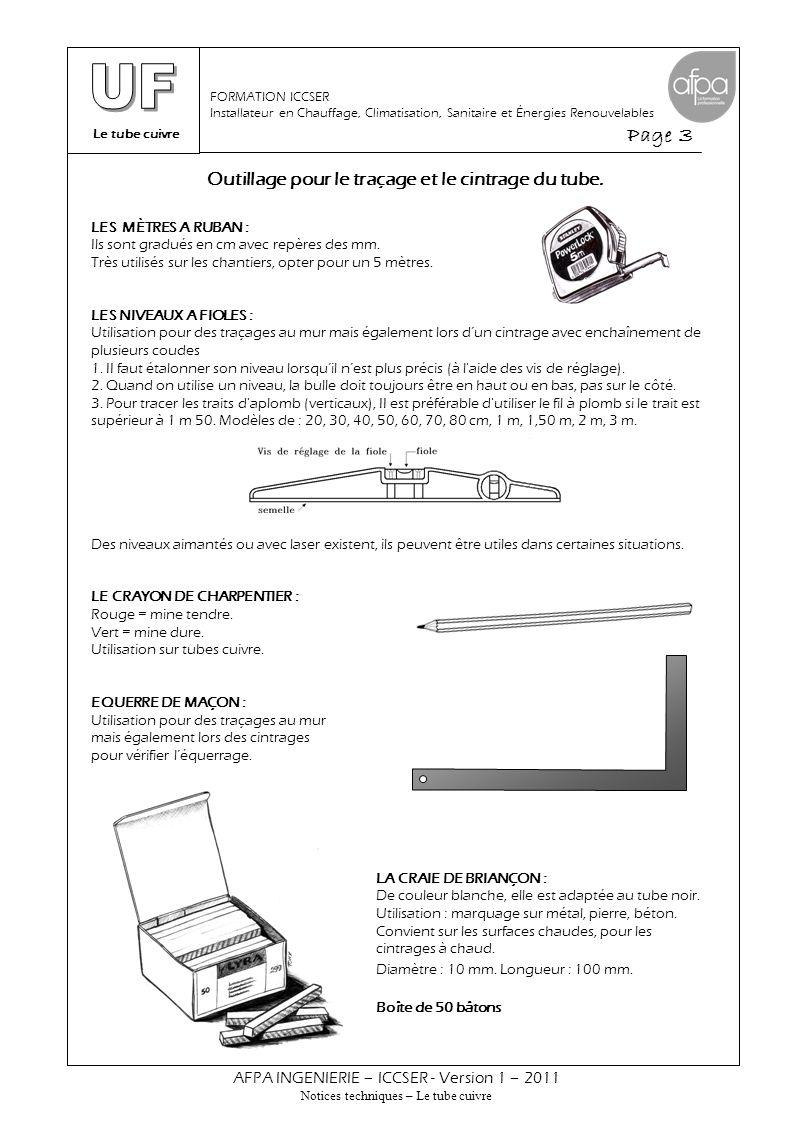 Le tube cuivre Page 3 AFPA INGENIERIE – ICCSER - Version 1 – 2011 Notices techniques – Le tube cuivre FORMATION ICCSER Installateur en Chauffage, Clim
