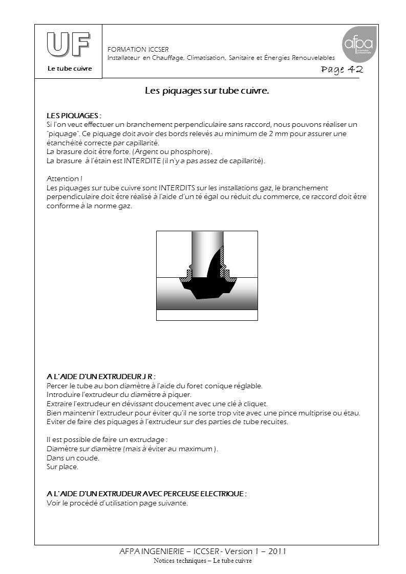 Le tube cuivre Page 42 AFPA INGENIERIE – ICCSER - Version 1 – 2011 Notices techniques – Le tube cuivre FORMATION ICCSER Installateur en Chauffage, Cli
