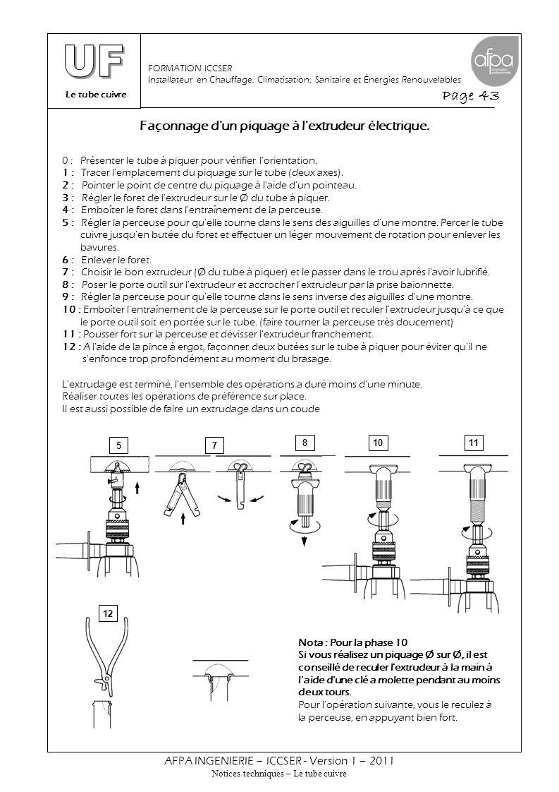 Le tube cuivre Page 43 AFPA INGENIERIE – ICCSER - Version 1 – 2011 Notices techniques – Le tube cuivre FORMATION ICCSER Installateur en Chauffage, Cli