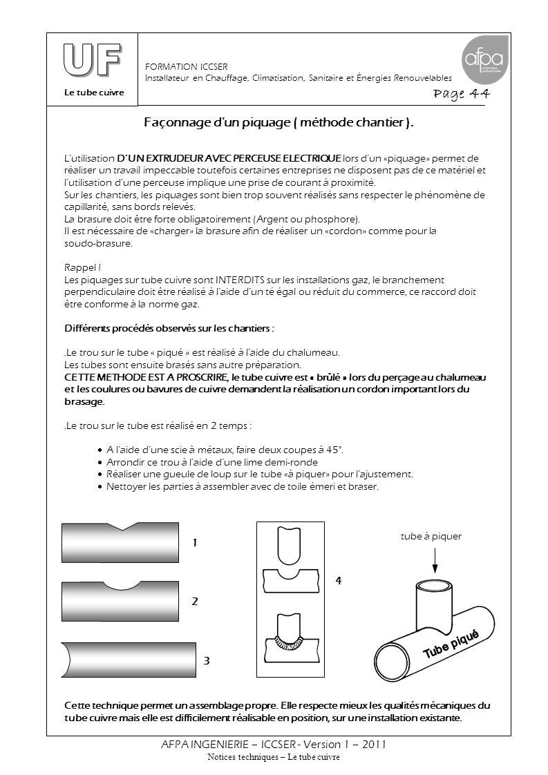 Le tube cuivre Page 44 AFPA INGENIERIE – ICCSER - Version 1 – 2011 Notices techniques – Le tube cuivre FORMATION ICCSER Installateur en Chauffage, Cli