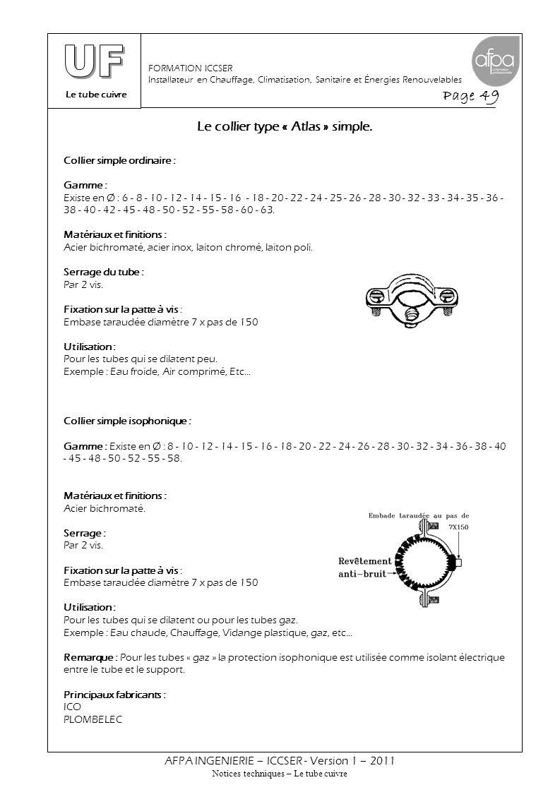 Le tube cuivre Page 49 AFPA INGENIERIE – ICCSER - Version 1 – 2011 Notices techniques – Le tube cuivre FORMATION ICCSER Installateur en Chauffage, Cli