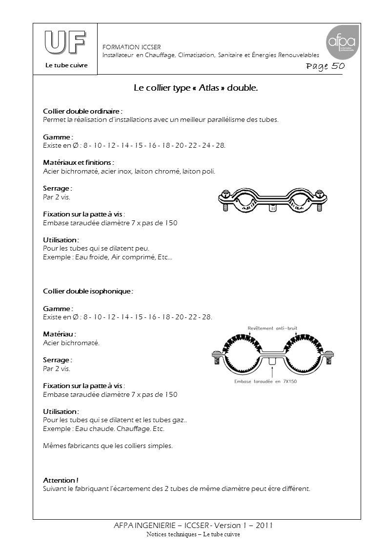 Le tube cuivre Page 50 AFPA INGENIERIE – ICCSER - Version 1 – 2011 Notices techniques – Le tube cuivre FORMATION ICCSER Installateur en Chauffage, Cli