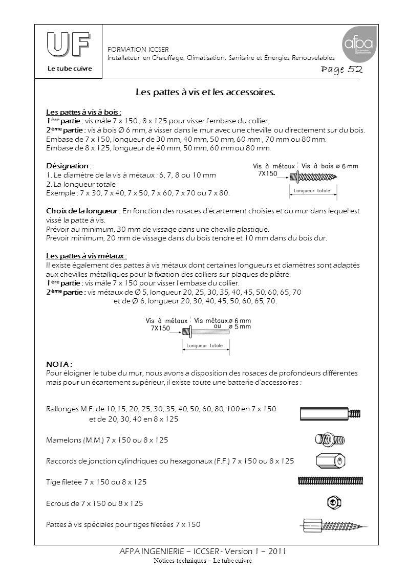 Le tube cuivre Page 52 AFPA INGENIERIE – ICCSER - Version 1 – 2011 Notices techniques – Le tube cuivre FORMATION ICCSER Installateur en Chauffage, Cli