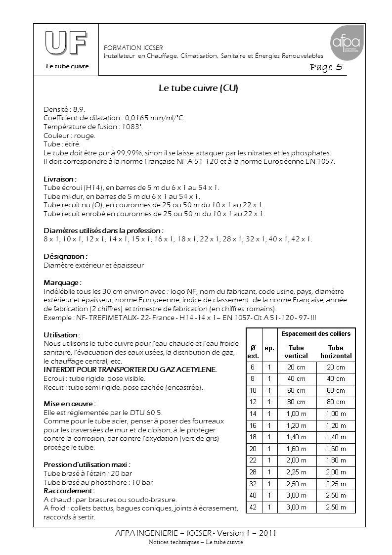 Le tube cuivre Page 5 AFPA INGENIERIE – ICCSER - Version 1 – 2011 Notices techniques – Le tube cuivre FORMATION ICCSER Installateur en Chauffage, Clim
