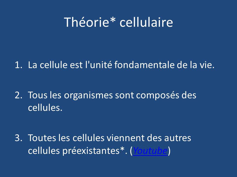 Théorie* cellulaire 1.La cellule est l unité fondamentale de la vie.