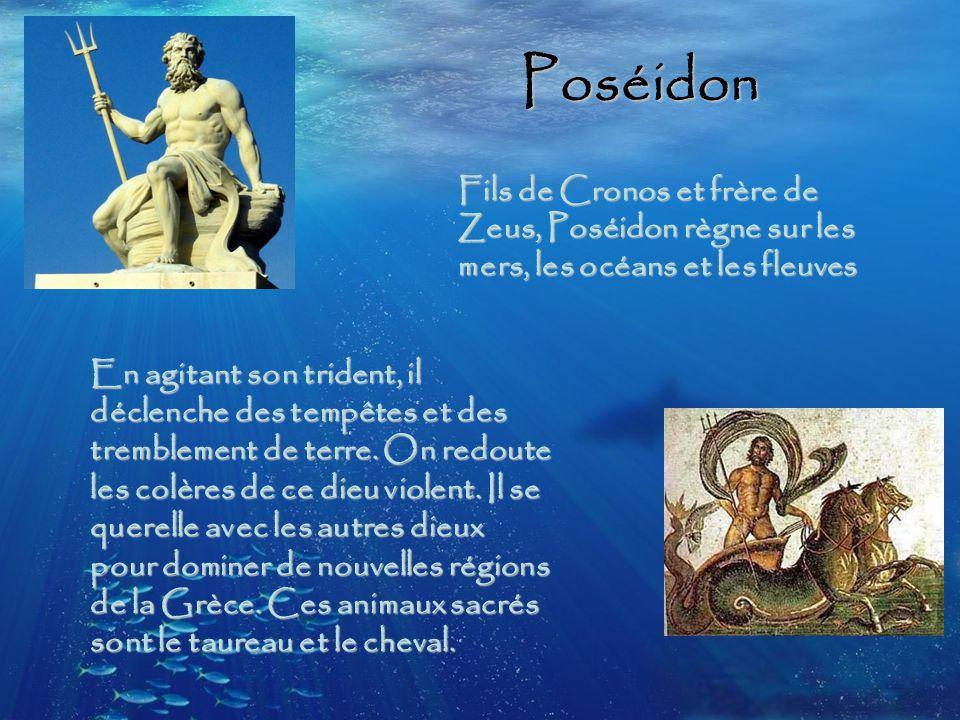 Poséidon Fils de Cronos et frère de Zeus, Poséidon règne sur les mers, les océans et les fleuves En agitant son trident, il déclenche des tempêtes et des tremblement de terre.