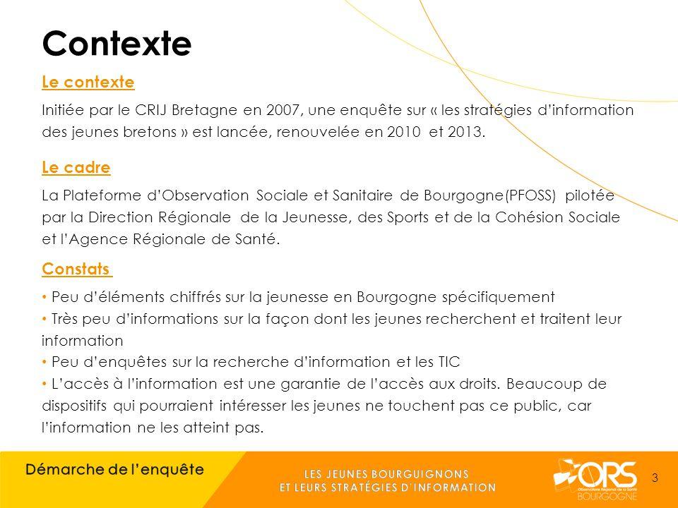 Contexte Le contexte Initiée par le CRIJ Bretagne en 2007, une enquête sur « les stratégies d'information des jeunes bretons » est lancée, renouvelée en 2010 et 2013.