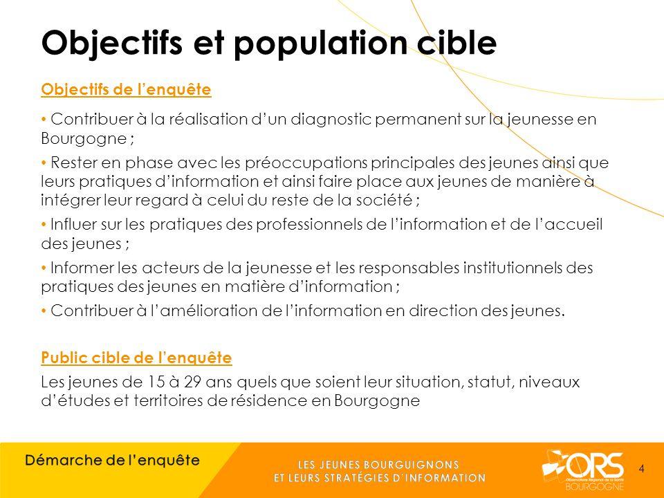 Objectifs et population cible Objectifs de l'enquête Contribuer à la réalisation d'un diagnostic permanent sur la jeunesse en Bourgogne ; Rester en phase avec les préoccupations principales des jeunes ainsi que leurs pratiques d'information et ainsi faire place aux jeunes de manière à intégrer leur regard à celui du reste de la société ; Influer sur les pratiques des professionnels de l'information et de l'accueil des jeunes ; Informer les acteurs de la jeunesse et les responsables institutionnels des pratiques des jeunes en matière d'information ; Contribuer à l'amélioration de l'information en direction des jeunes.