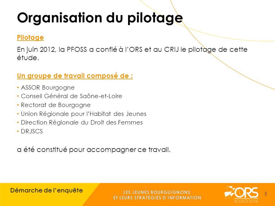 Organisation du pilotage Pilotage En juin 2012, la PFOSS a confié à l'ORS et au CRIJ le pilotage de cette étude.