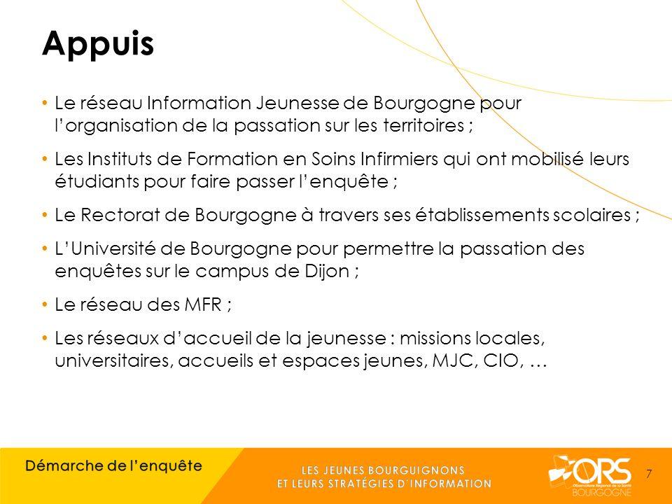 Appuis Le réseau Information Jeunesse de Bourgogne pour l'organisation de la passation sur les territoires ; Les Instituts de Formation en Soins Infirmiers qui ont mobilisé leurs étudiants pour faire passer l'enquête ; Le Rectorat de Bourgogne à travers ses établissements scolaires ; L'Université de Bourgogne pour permettre la passation des enquêtes sur le campus de Dijon ; Le réseau des MFR ; Les réseaux d'accueil de la jeunesse : missions locales, universitaires, accueils et espaces jeunes, MJC, CIO, … 7
