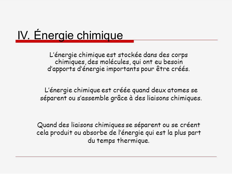 IV. Énergie chimique L'énergie chimique est stockée dans des corps chimiques, des molécules, qui ont eu besoin d'apports d'énergie importants pour êtr
