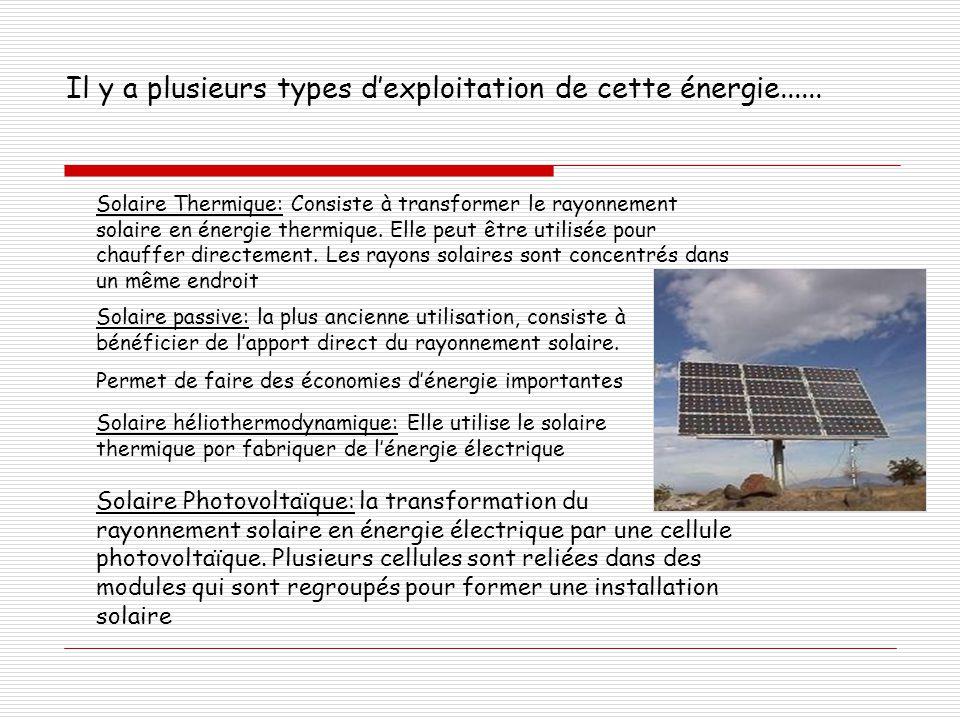Il y a plusieurs types d'exploitation de cette énergie...... Solaire Thermique: Consiste à transformer le rayonnement solaire en énergie thermique. El