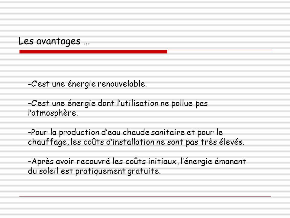 Les avantages … -C'est une énergie renouvelable. -C'est une énergie dont l'utilisation ne pollue pas l'atmosphère. -Pour la production d'eau chaude sa