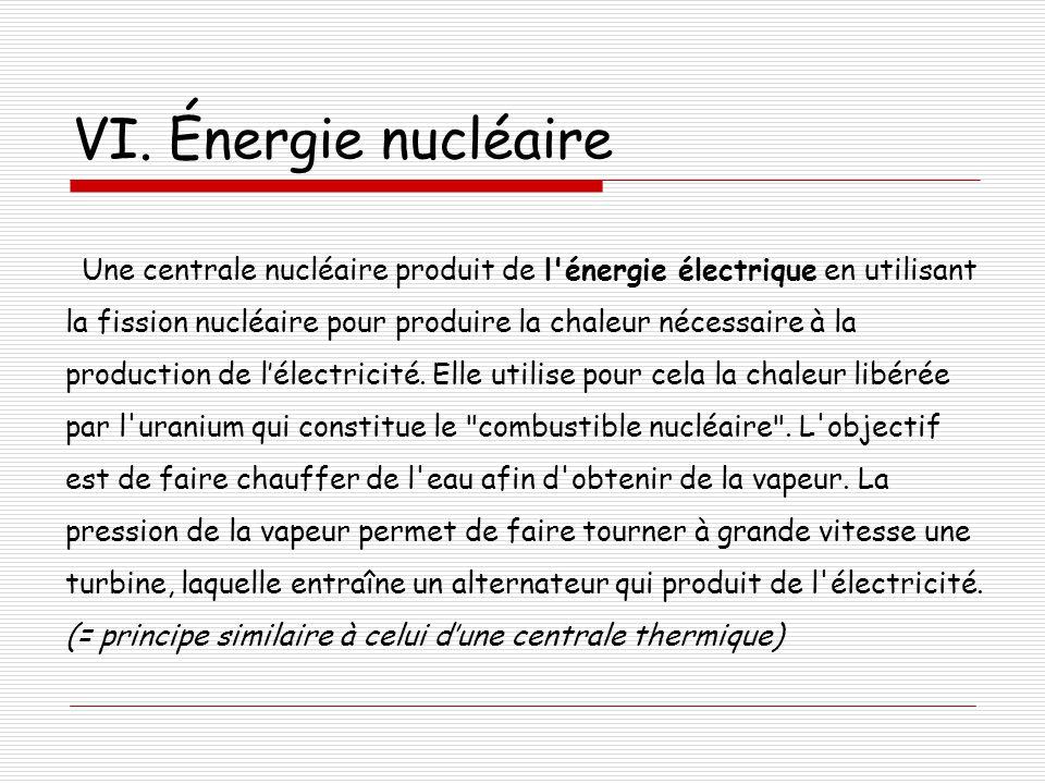 VI. Énergie nucléaire Une centrale nucléaire produit de l'énergie électrique en utilisant la fission nucléaire pour produire la chaleur nécessaire à l