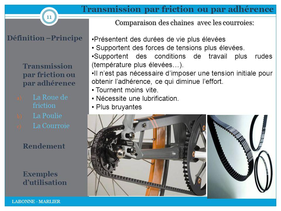 Transmission par friction ou par adhérence 11 LABONNE - MARLIER Définition –Principe 1. Transmission par friction ou par adhérence a) La Roue de frict