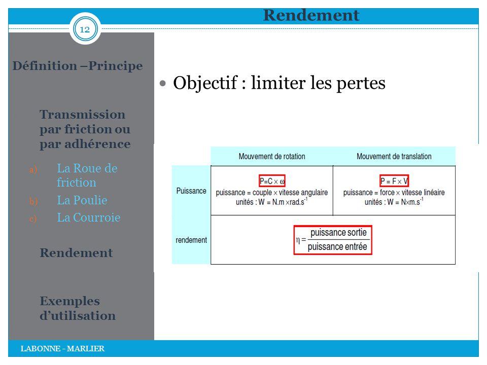 Rendement Objectif : limiter les pertes 12 LABONNE - MARLIER Définition –Principe 1. Transmission par friction ou par adhérence a) La Roue de friction