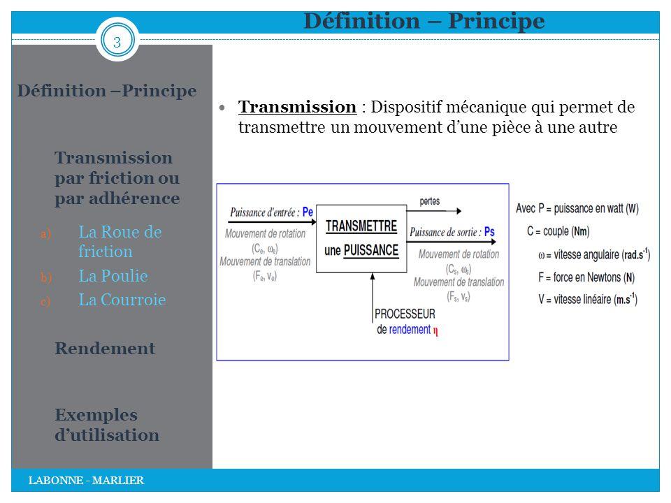 Définition – Principe 1. Transmission par friction ou par adhérence a) La Roue de friction b) La Poulie c) La Courroie 2. Rendement 3. Exemples d'util
