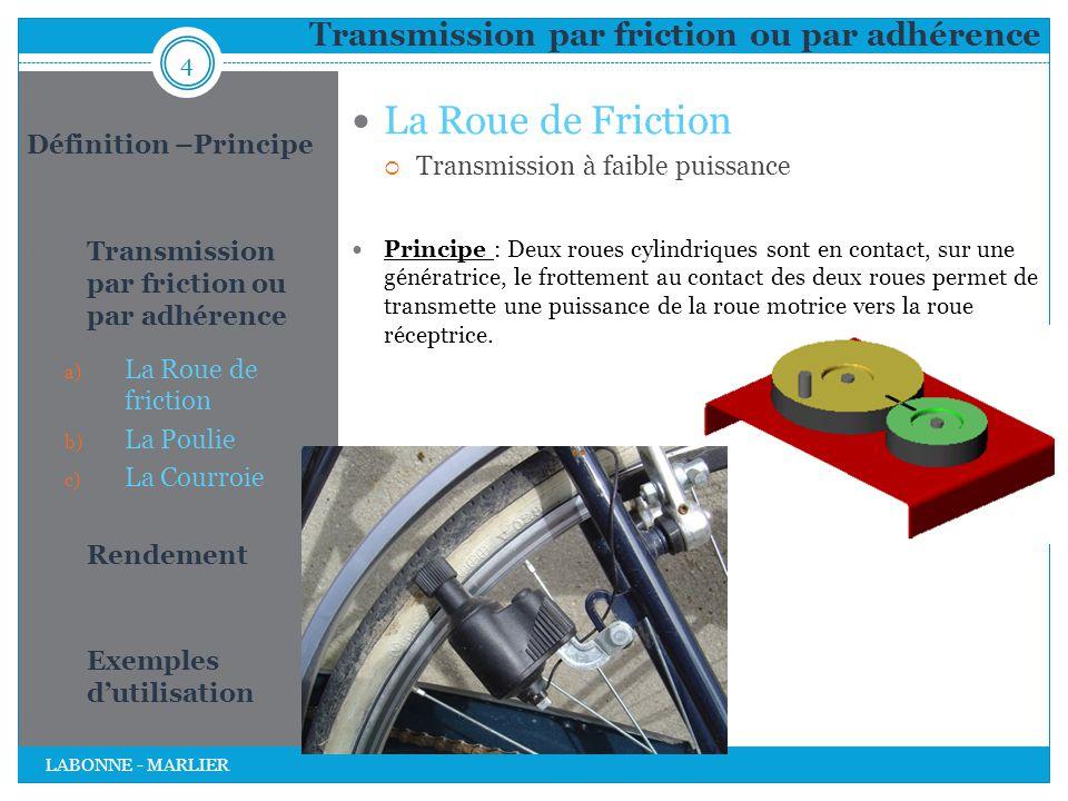 Transmission par friction ou par adhérence La Roue de Friction  Transmission à faible puissance Principe : Deux roues cylindriques sont en contact, s