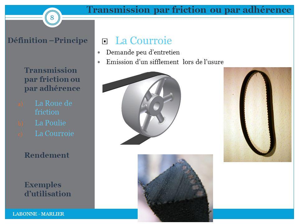 Transmission par friction ou par adhérence  La Courroie Demande peu d'entretien Emission d'un sifflement lors de l'usure 8 LABONNE - MARLIER Définiti