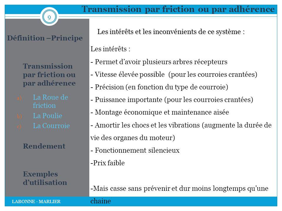 Transmission par friction ou par adhérence 9 LABONNE - MARLIER Définition –Principe 1. Transmission par friction ou par adhérence a) La Roue de fricti