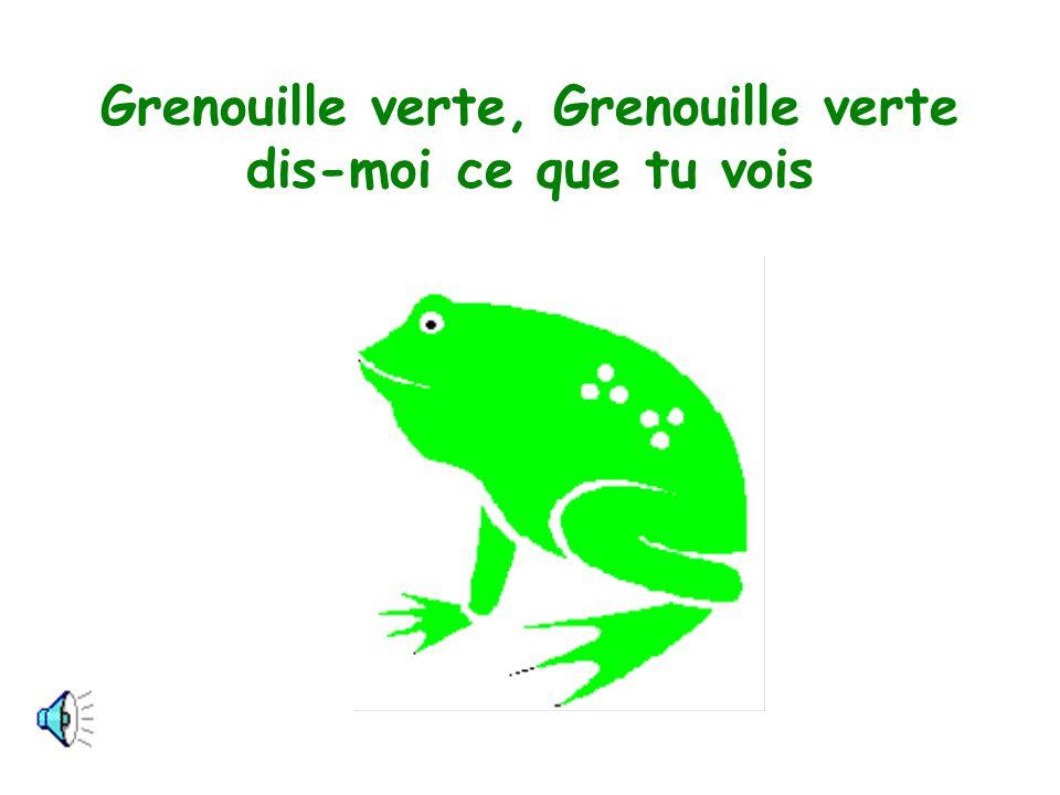 Je vois une grenouille verte qui regarde par ici