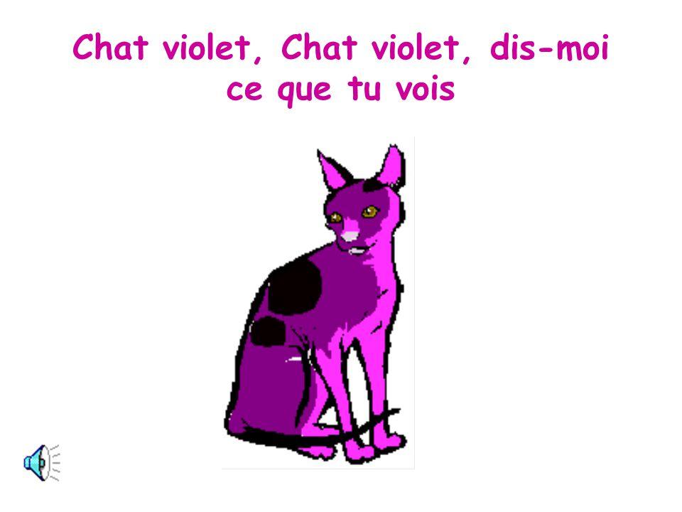 Je vois un chat violet qui regarde par ici