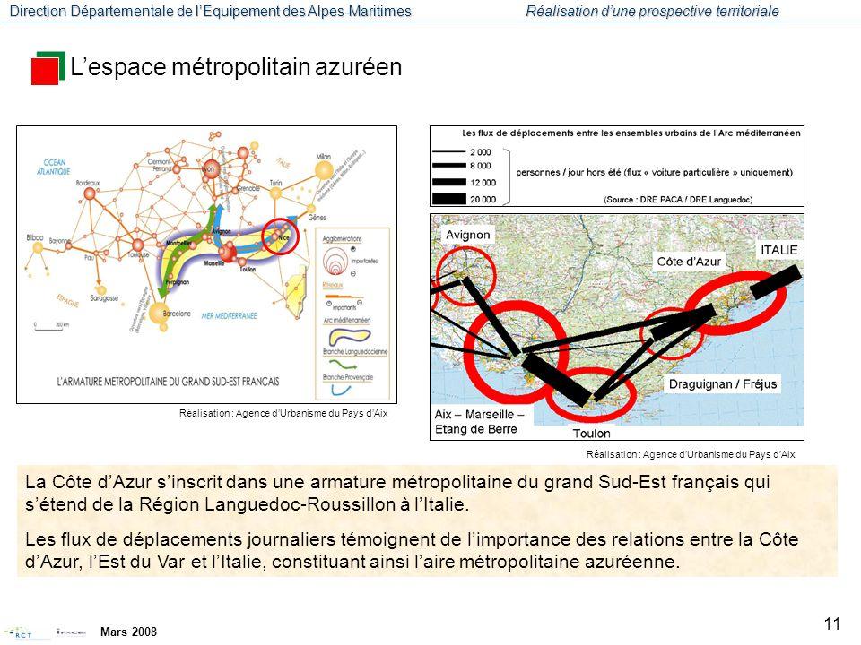 Direction Départementale de l'Equipement des Alpes-Maritimes Réalisation d'une prospective territoriale Mars 2008 12 La population est fortement concentrée sur la bande littorale.