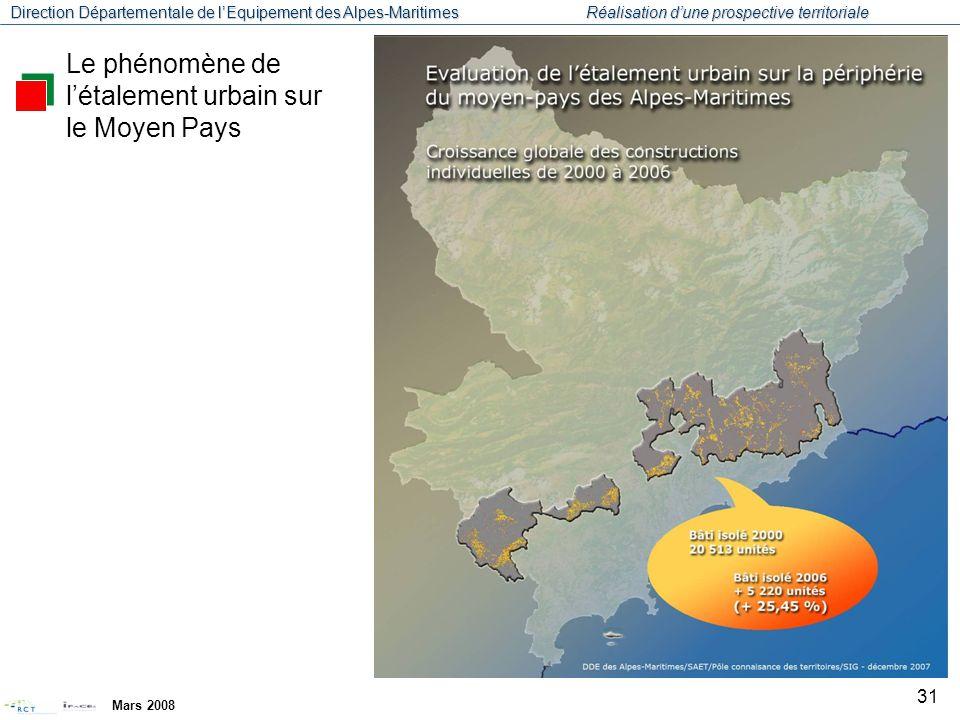 Direction Départementale de l'Equipement des Alpes-Maritimes Réalisation d'une prospective territoriale Mars 2008 32 Le phénomène de l'étalement urbain sur le Moyen Pays