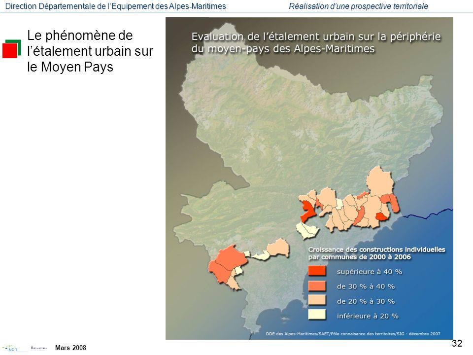 Direction Départementale de l'Equipement des Alpes-Maritimes Réalisation d'une prospective territoriale Mars 2008 33 Le phénomène de l'étalement urbain sur le Moyen Pays