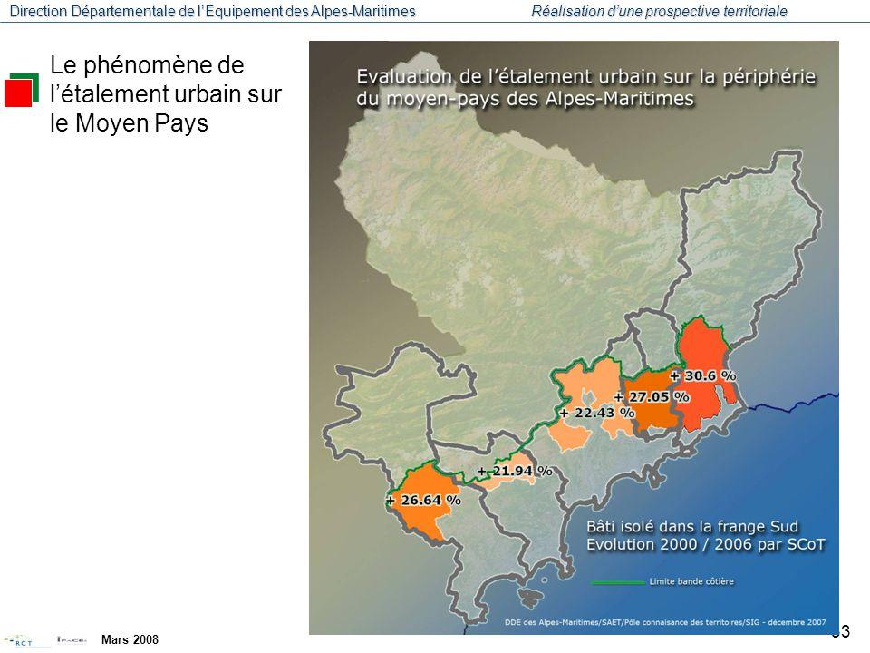 Direction Départementale de l'Equipement des Alpes-Maritimes Réalisation d'une prospective territoriale Mars 2008 34 La croissance démographique et résidentielle se reporte de plus en plus sur des espaces de grande qualité environnementale et paysagère.