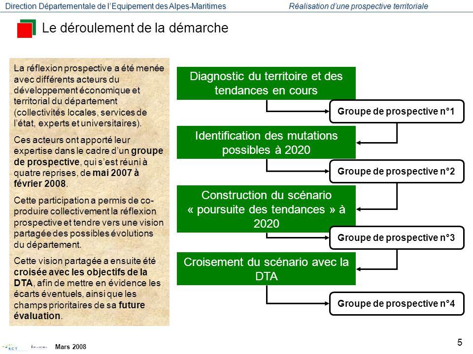 Direction Départementale de l'Equipement des Alpes-Maritimes Réalisation d'une prospective territoriale Mars 2008 6 Pour préparer la réflexion prospective, la démarche se devait en premier lieu d'actualiser le diagnostic du territoire de la DTA.