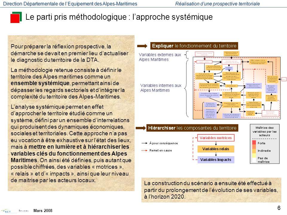 Direction Départementale de l'Equipement des Alpes-Maritimes Réalisation d'une prospective territoriale Mars 2008 7 Diagnostic systémique