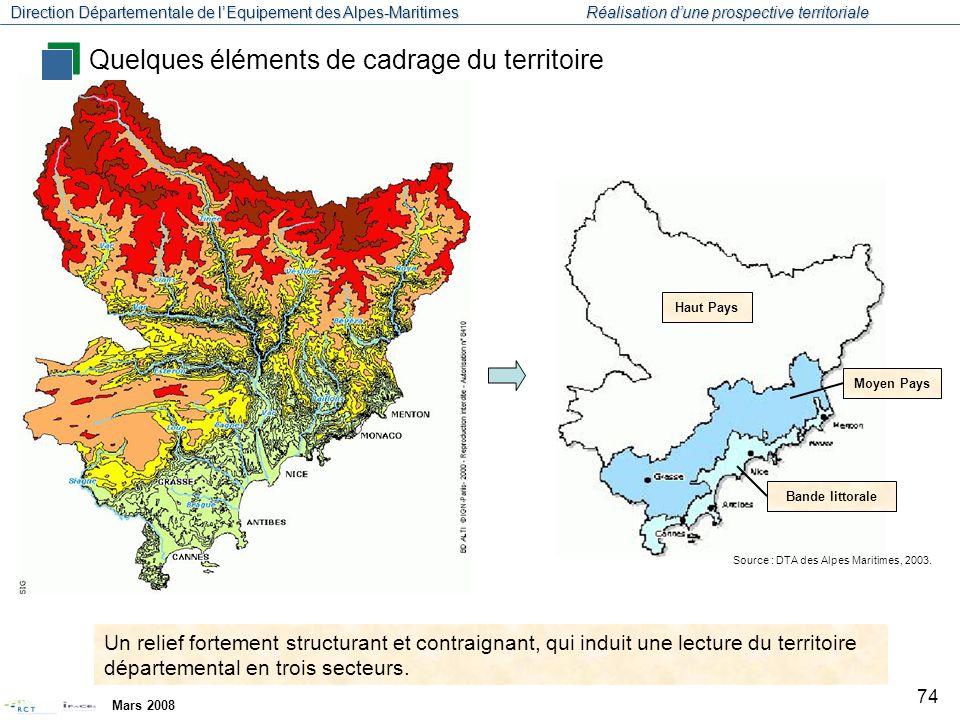 Direction Départementale de l'Equipement des Alpes-Maritimes Réalisation d'une prospective territoriale Mars 2008 75 A8 N202 D2205 N204 N202 N85 Une organisation territoriale marquée par un axe littoral structurant (A8), et des perpendiculaires nord-sud qui suivent les vallées.