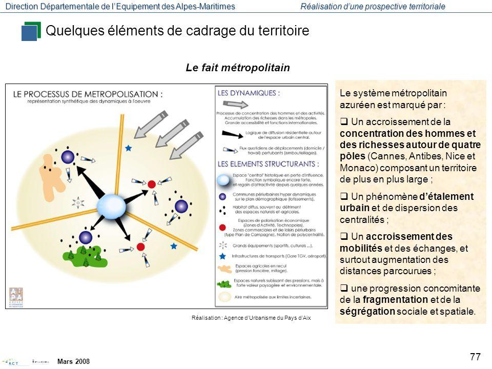 Direction Départementale de l'Equipement des Alpes-Maritimes Réalisation d'une prospective territoriale Mars 2008 78 Réalisation : Agence d'Urbanisme du Pays d'Aix Le système métropolitain de la Côte d'Azur est constitué par un « réseau de villes » dense (une quinzaine) qui regroupe environ 800.000 habitants.