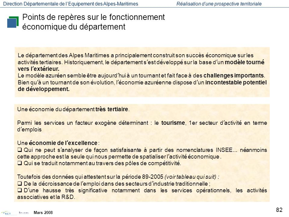 Direction Départementale de l'Equipement des Alpes-Maritimes Réalisation d'une prospective territoriale Mars 2008 83 Source : INSEE Points de repères sur le fonctionnement économique du département