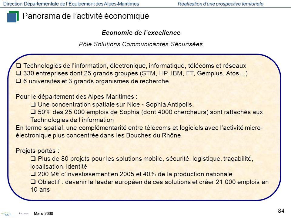 Direction Départementale de l'Equipement des Alpes-Maritimes Réalisation d'une prospective territoriale Mars 2008 85 Pôle inter-régional (Bretagne) Une centaine d'entreprises dont des grands groupes (Veolia, DCN, Thales…) : forte concentration des PME à Sophia 6 universités, des laboratoires et des centres de recherche : Ifremer, CNRS… Programme de 17 projets de coopération Ambition de réaliser 200 M€ d'investissement en 5 ans, de pérenniser 5000 emplois, et d'en créer 3000 Panorama de l'activité économique Economie de l'excellence Pôle Mer, Sécurité et Sûreté