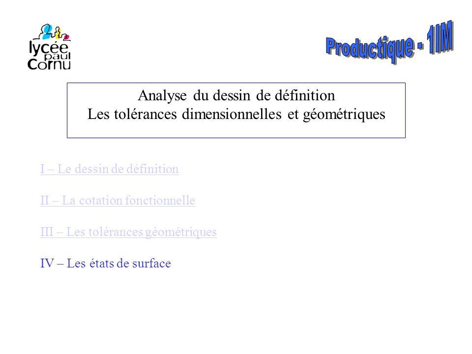 II – La cotation fonctionnelle 2-1- Cotes uni-limites 2-2- Conditions implicites 2-3- Formes admises 2-4- Cotes sans indication de tolérance III – Les tolérances géométriques 3-1- Les tolérances de forme 3-2 – Les tolérances d'orientation 3-3- Les tolérances de position 3-4- Tolérances de battement 