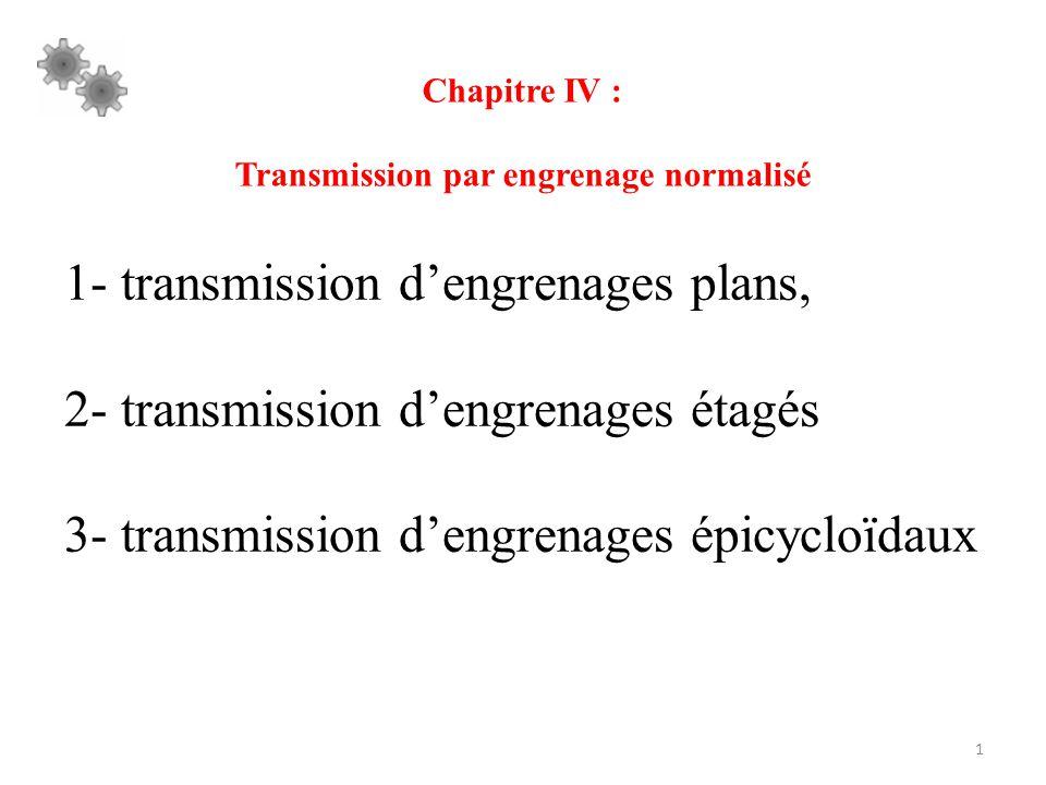 1 Chapitre IV : Transmission par engrenage normalisé 1- transmission d'engrenages plans, 2- transmission d'engrenages étagés 3- transmission d'engrena
