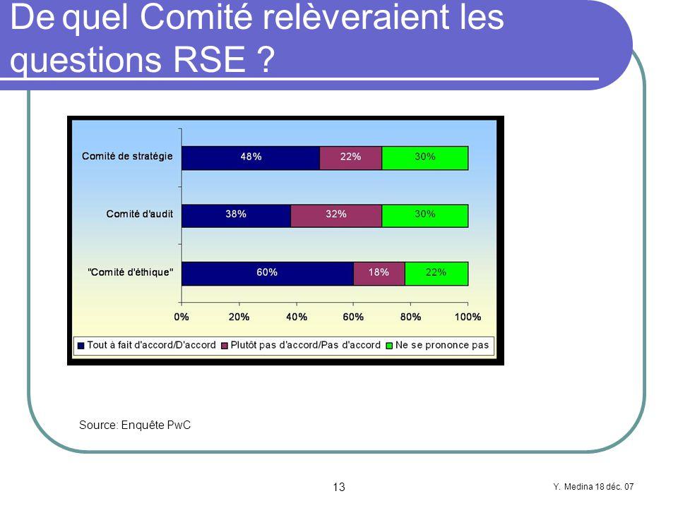 Y. Medina 18 déc. 07 13 De quel Comité relèveraient les questions RSE Source: Enquête PwC