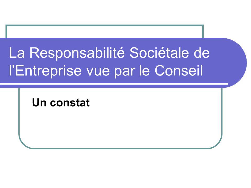 La Responsabilité Sociétale de l'Entreprise vue par le Conseil Un constat
