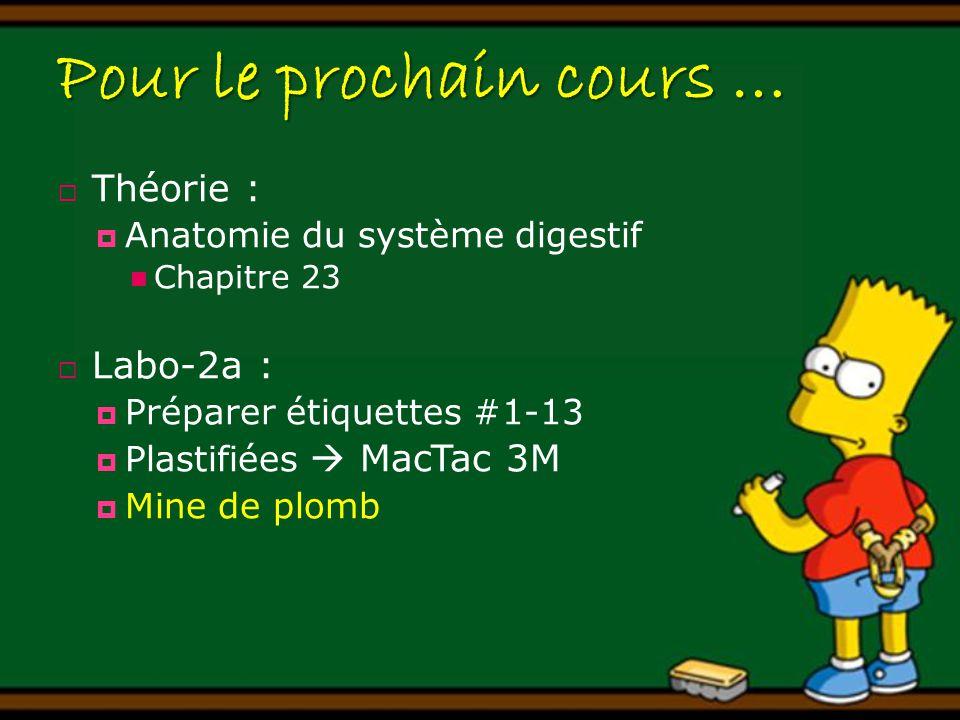 Pour le prochain cours …  Théorie :  Anatomie du système digestif Chapitre 23  Labo-2a :  Préparer étiquettes #1-13  Plastifiées  MacTac 3M  Mine de plomb