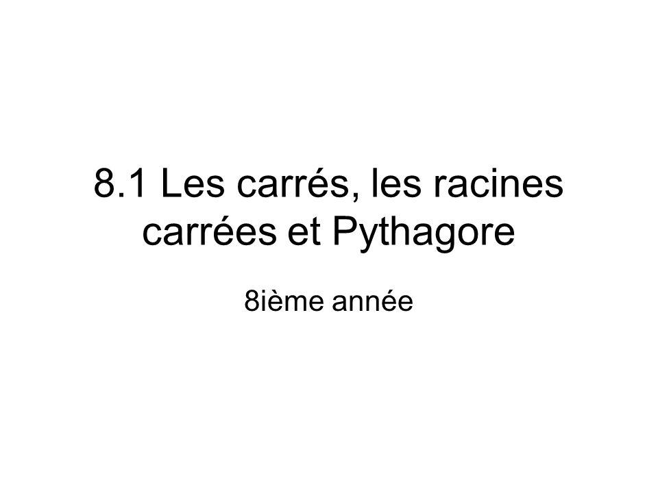8.1 Les carrés, les racines carrées et Pythagore 8ième année
