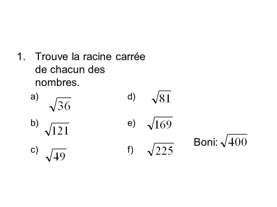 1.Trouve la racine carrée de chacun des nombres. a) d) b) e) c) f) Boni: