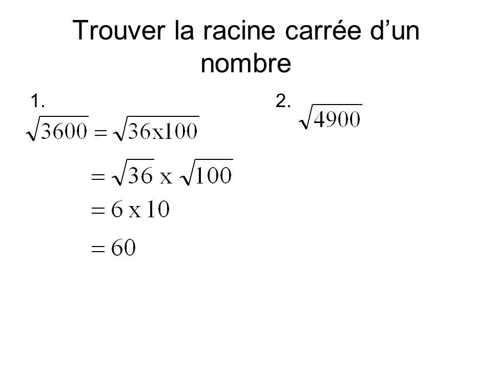 Trouver la racine carrée d'un nombre 1.2.
