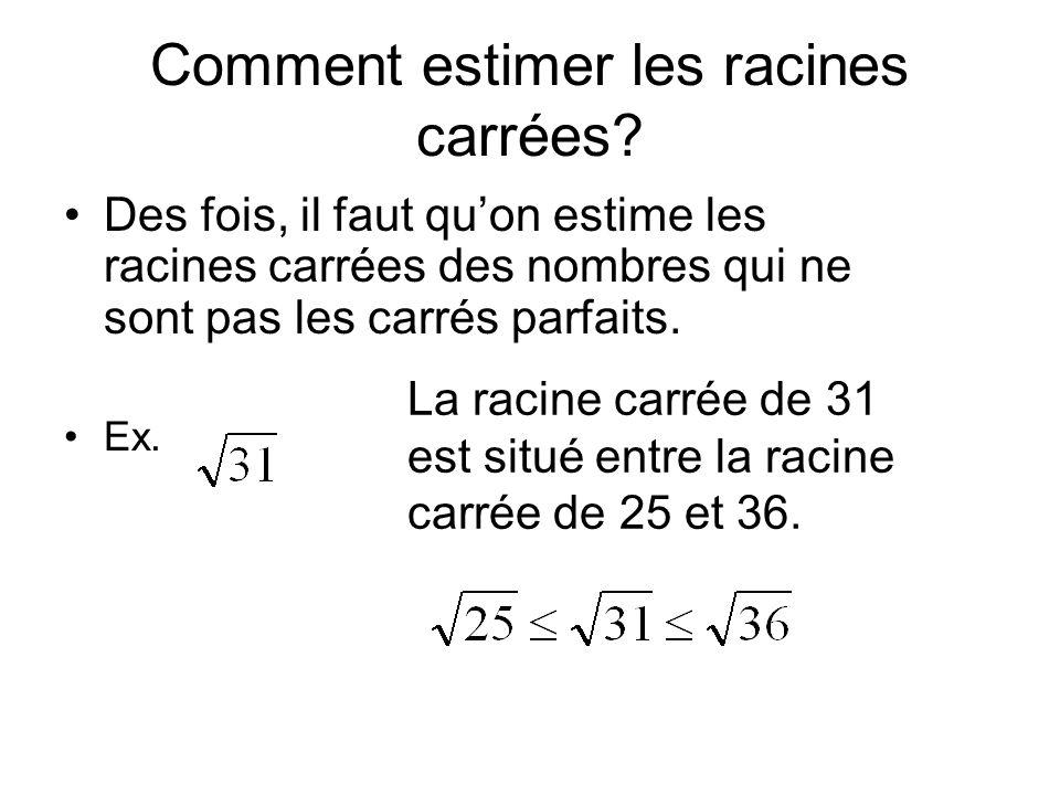 Comment estimer les racines carrées? Des fois, il faut qu'on estime les racines carrées des nombres qui ne sont pas les carrés parfaits. Ex. La racine