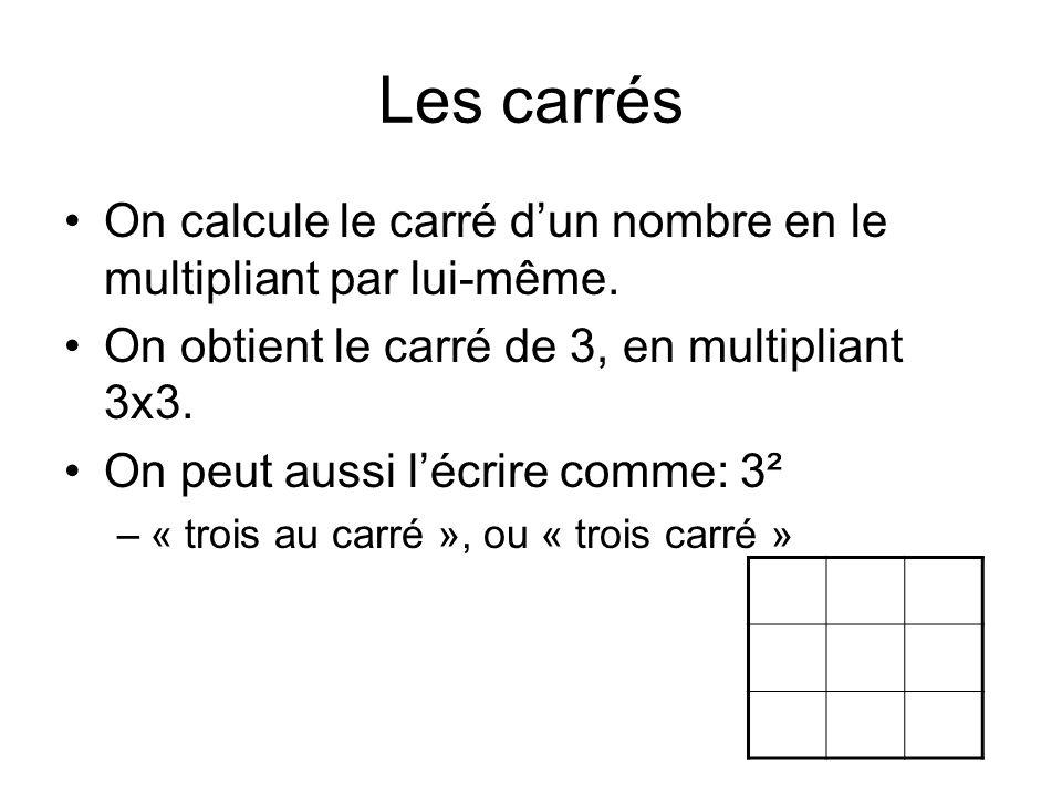 Les carrés On calcule le carré d'un nombre en le multipliant par lui-même. On obtient le carré de 3, en multipliant 3x3. On peut aussi l'écrire comme: