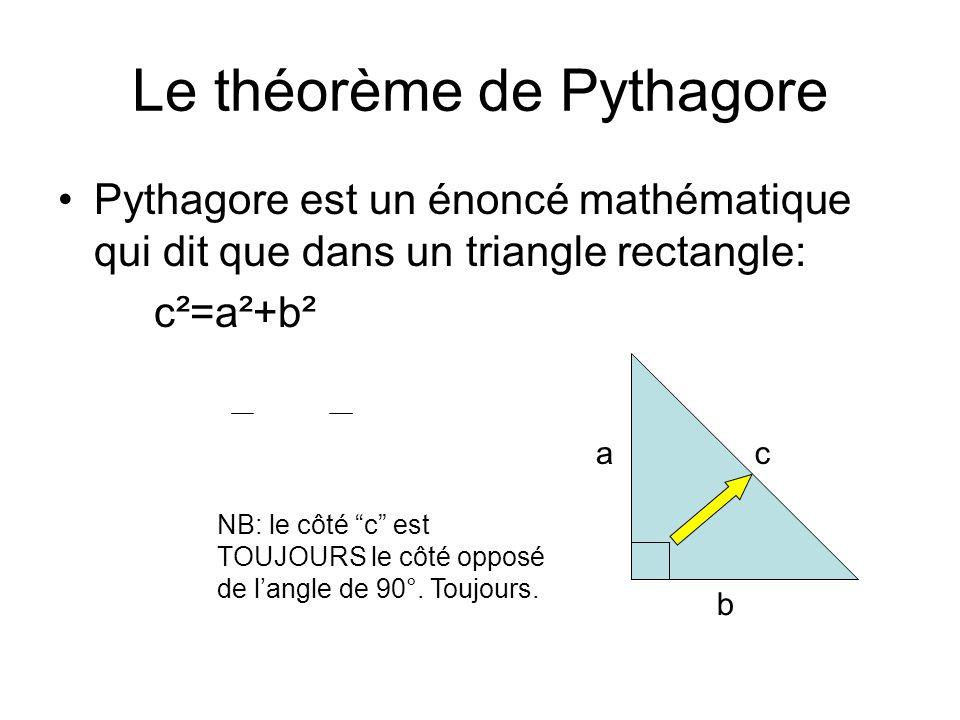 """Le théorème de Pythagore Pythagore est un énoncé mathématique qui dit que dans un triangle rectangle: c²=a²+b² a b c NB: le côté """"c"""" est TOUJOURS le c"""