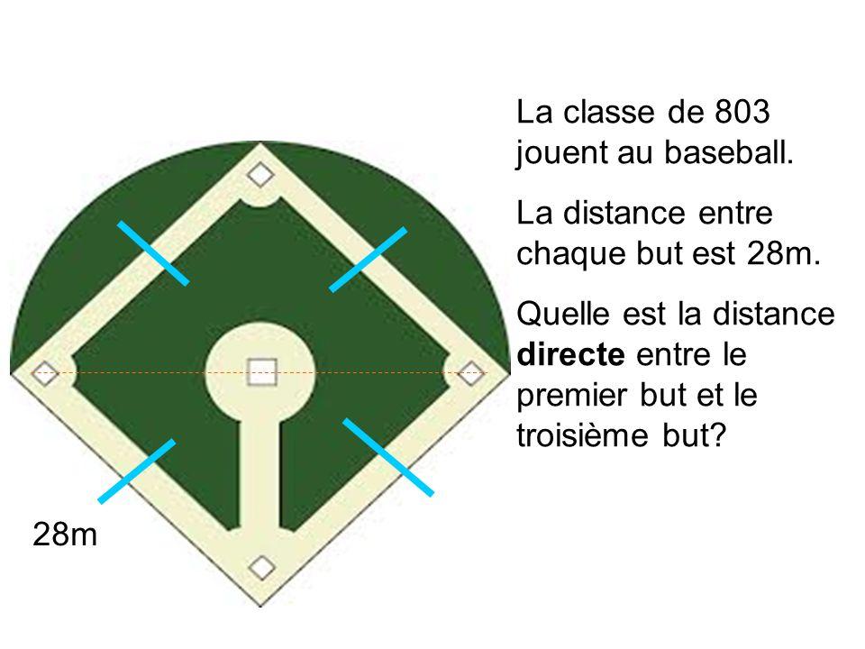 La classe de 803 jouent au baseball. La distance entre chaque but est 28m. Quelle est la distance directe entre le premier but et le troisième but? 28