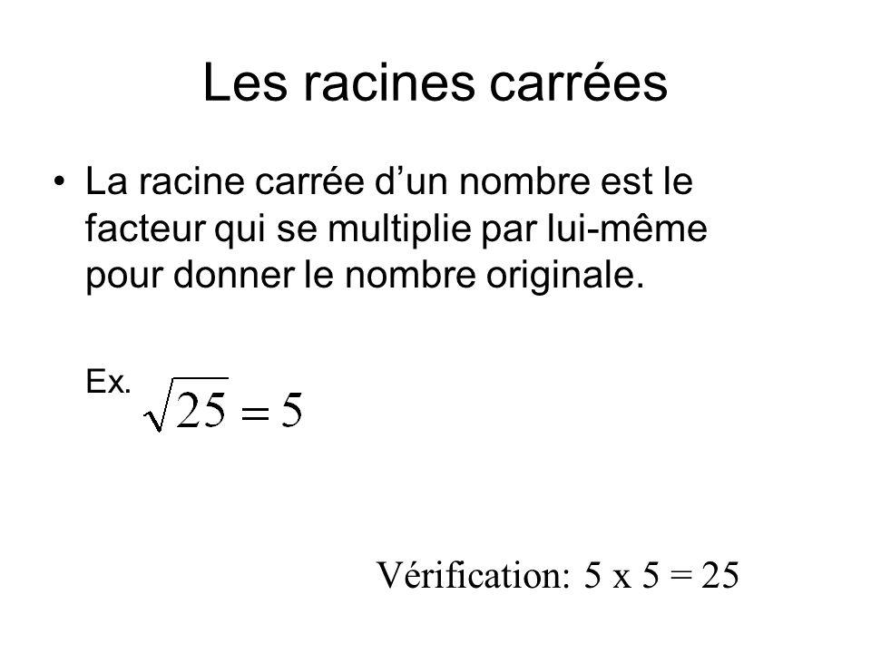 Les racines carrées La racine carrée d'un nombre est le facteur qui se multiplie par lui-même pour donner le nombre originale. Ex. Vérification: 5 x 5