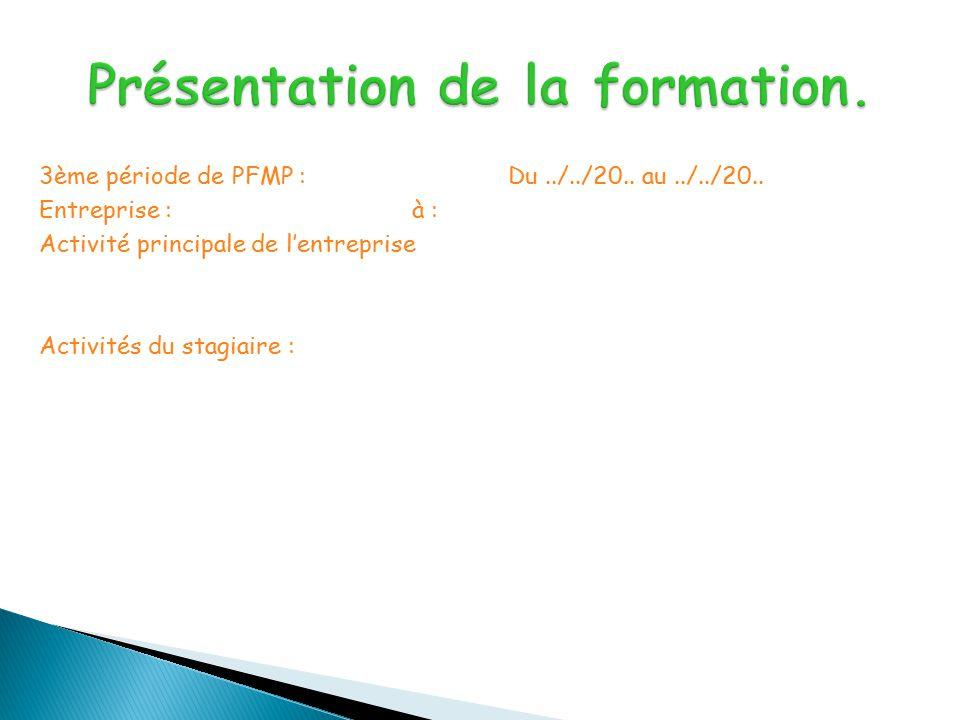 3ème période de PFMP :Du../../20..au../../20..
